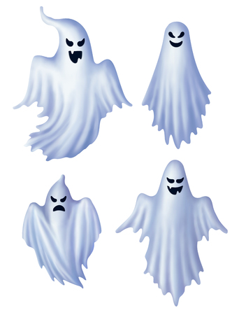 Set of isolated white ghosts.