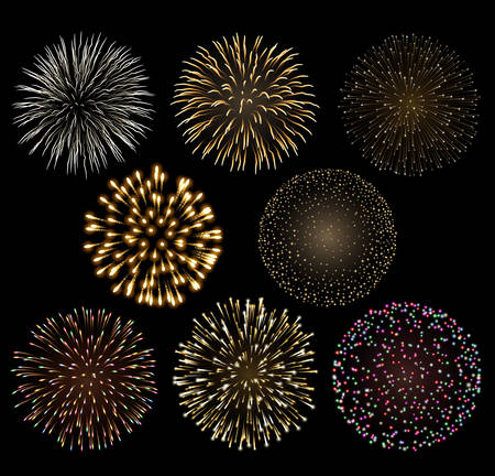 Set of bright colorful fireworks.