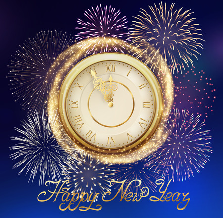Happy New Year, background with golden clock and sparkles, and fireworks. Illustration