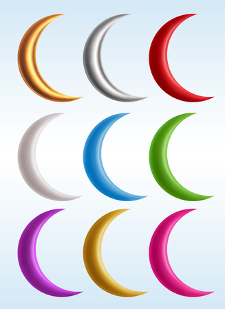 Set of colorful crescents, contains transparency.