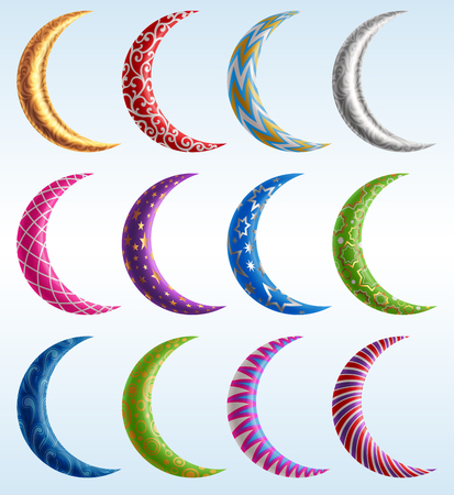 Set of decorated colorful crescents, EPS 10 contains transparency