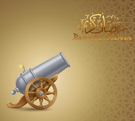Ramadan begroeting achtergrond met kanon, EPS-10 bevat transparantie.