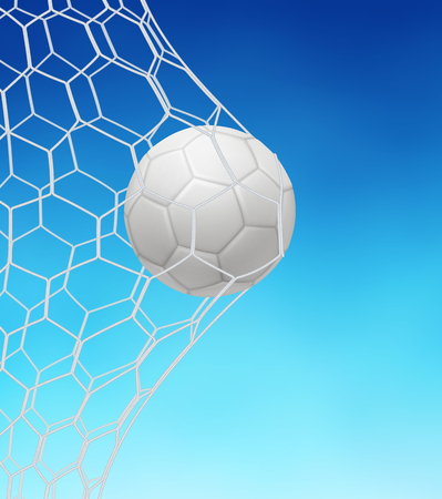 Soccer ball in goal on blue background. EPS 10 contains transparency.