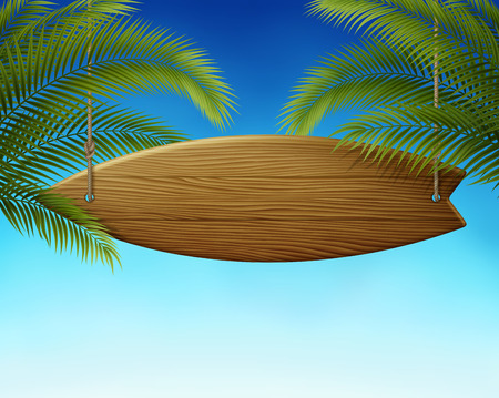 Clean wooden surfboard signboard on ropes, with summer sky background, and palm leafs EPS 10 contains transparency.