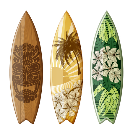 Set of surfboards with original flat design, with color print, EPS 10 contains transparency.