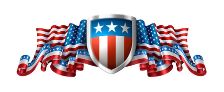 American patriotic background with shield, 4th of july greeting card, EPS 10 contains transparency. Standard-Bild - 102261850