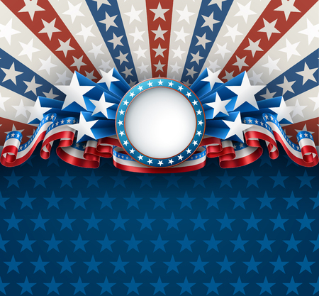 American patriotic background with round frame, 4th of july greeting card, EPS 10 contains transparency. Ilustração
