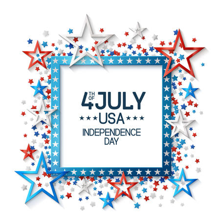 Fourth of july background with frame, on white background and, stars in american flag colors, design for greeting cards and posters. EPS 10 contains transparency. 일러스트