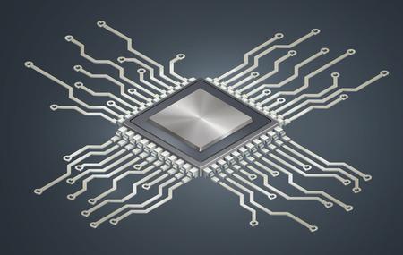 Illustration du microprocesseur, circuit imprimé isométrique. EPS 10 contient de la transparence. Vecteurs