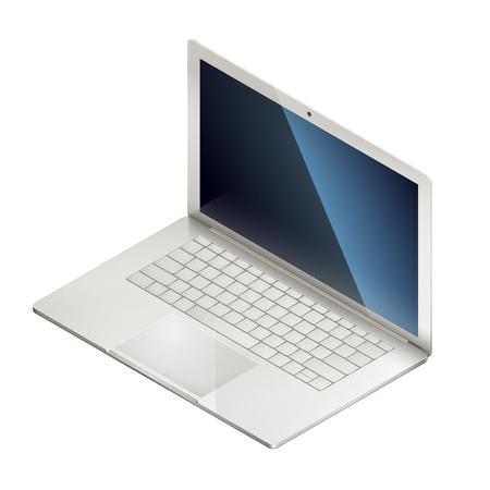 Isometric illusration of laptop, isolated on white background. EPS 10 contains transparency. Çizim
