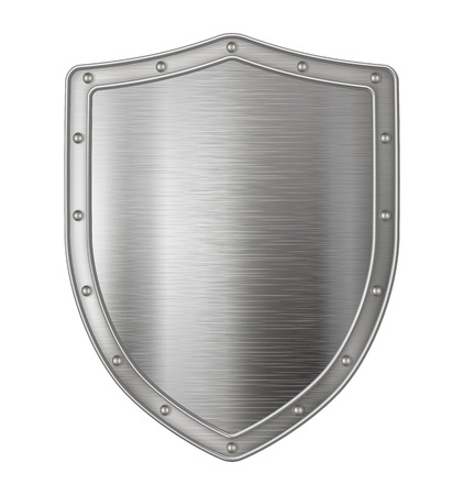 Realistic metal shield, weapon icon, element for coat of arms, EPS 10 contains transparency. Stock Illustratie