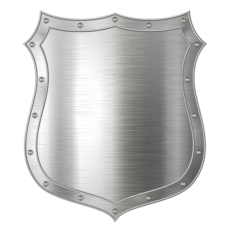 Realistic metal shield, weapon icon, element for coat of arms, EPS 10 contains transparency. 向量圖像