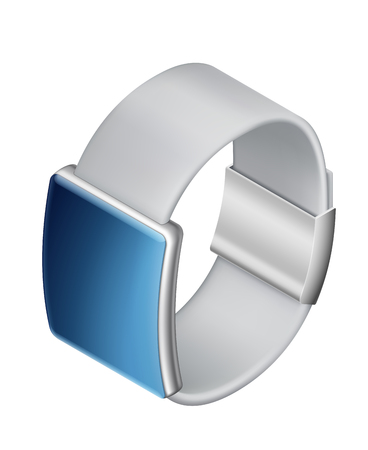 Smart watch on isolated white background, isometric icon of watch, EPS 10 contains transparency.