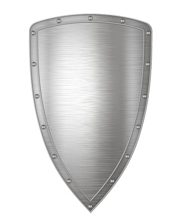 Realistic metal shield, weapon icon, element for coat of arms, EPS 10 contains transparency. Ilustracja