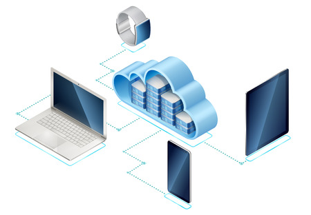 Isometric illustration of data network management. Networking server or in cloud and portable devices: laptop, mobile phone and tablet computer, connected with internet. Contains transparency.