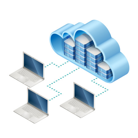 Isometric illustration of data network. Networking server or in cloud and laptops, connected with internet, EPS 10 contains transparency. Ilustracja