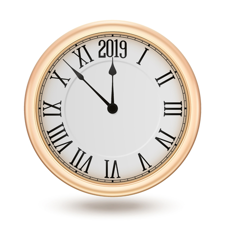 Golden clock, isolated on white background, design element for New years invitation and greeting cards.  contains transparency. Ilustracja