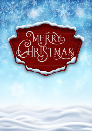 Winter background with wooden banner, background for christmas and new year greeting cards, and invitations, and winter holiday season. EPS 10 contains transparency. Ilustracja
