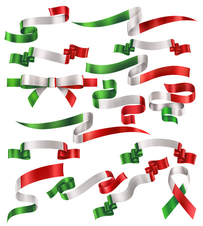 Set of Italian or Mexican flag ribbons, vector collection of decorative elements and banners, decoration for Italian or Mexican holidays. EPS 10 contains transparency.