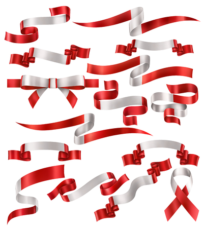 Set of Canadian flag ribbons, vector collection of decorative elements and banners, decoration for Canadian holidays . EPS 10 contains transparency. Иллюстрация