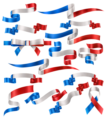 Set of French flag ribbons, vector collection of decorative elements and banners, decoration for French holidays. EPS 10 contains transparency. Иллюстрация