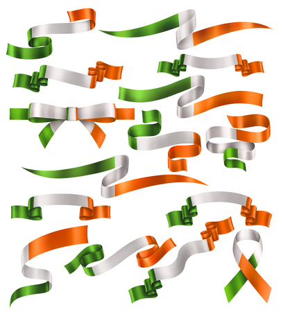 Set of Irish flag ribbons, vector collection of decorative elements and banners, decoration for Irish holidays . EPS 10 contains transparency.