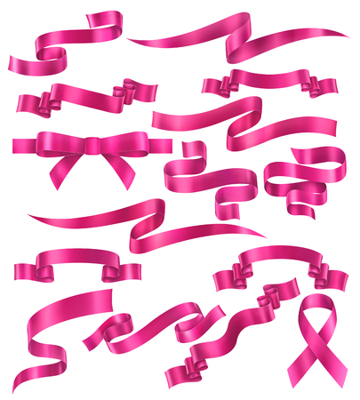 Set of pink ribbons, vector collection of banners, EPS 10 contains transparency. Иллюстрация