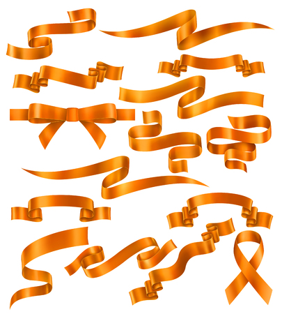 Set of Orange or golden ribbons, vector collection of banners, EPS 10 contains transparency