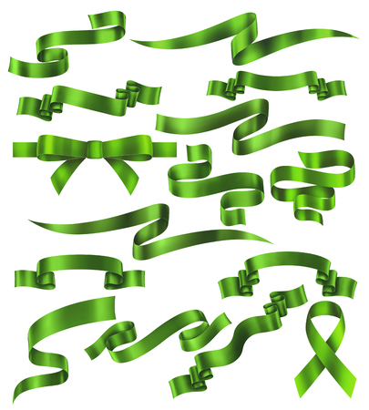 Set of green ribbons, vector collection of banners, EPS 10 contains transparency Ilustracja