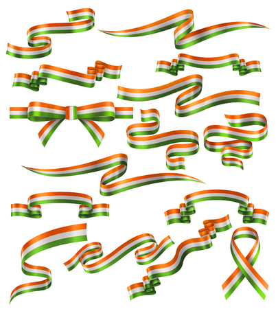 Set of Indian flag ribbons, vector collection of decorative elements and banners, decoration for Indian holidays . EPS 10 contains transparency.