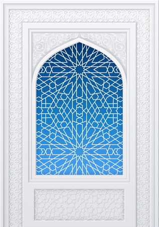 Illustration of window of mosque, geometric pattern, background for ramadan kareem greeting cards, contains transparency.