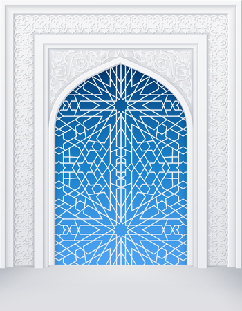 Illustration of door or window of mosque, geometric pattern, background for ramadan kareem greeting cards, contains transparency.