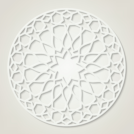 Round white pattern, traditional eastern ornament, contains transparency.