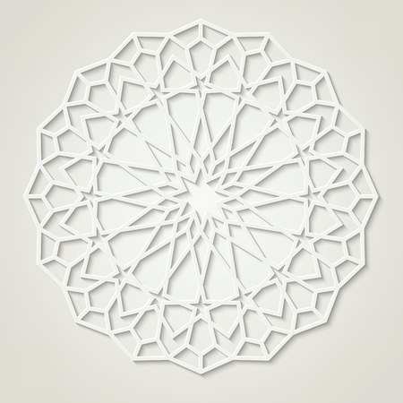 Arabic round white pattern, traditional eastern ornament, coctains transparency.