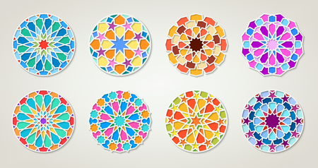 Set of arabic round colorful patterns, traditional eastern ornaments, coctains transparency.