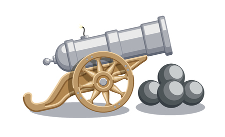 Cartoon illustration of asbstract cannon with cannonballs, weapon icon, in flat design, EPS 10 contains transparency. Иллюстрация