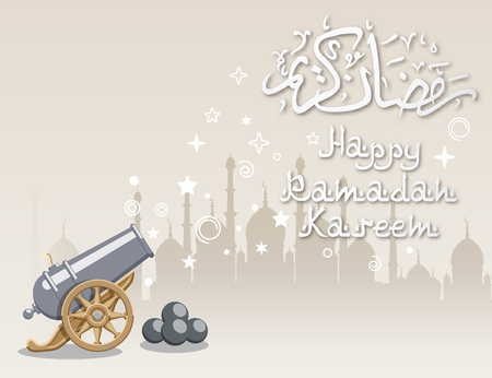 Ramadan greeting background with abstract cannon and mosque, contains transparency.