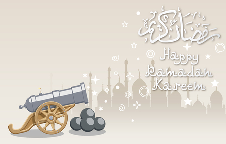 Ramadan greeting background with abstract big cannon and mosque,  contains transparency.