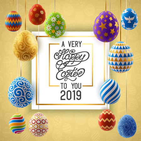 Background with decorated Easter eggs handing on ribbons, design of greeting card. EPS 10 contains transparency Иллюстрация