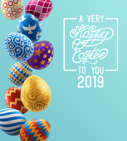 Background with decorated Easter eggs, design of greeting card. EPS 10 contains transparency