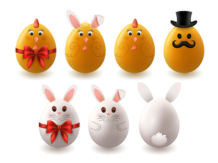 Set of painted colorful handmade easter eggs cute bunny and chicks, EPS 10 contains transparency