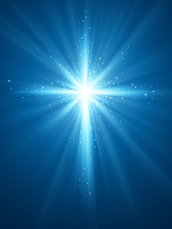 Easter background with light and cross of rays and light with shiny stars. EPS 10 contains transparency.