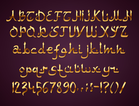 Arabic style golden font on purple background, EPS 10 contains transparency. Иллюстрация