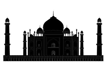 Black silhouette of mosque and mausoleum Taj Mahal. EPS 8