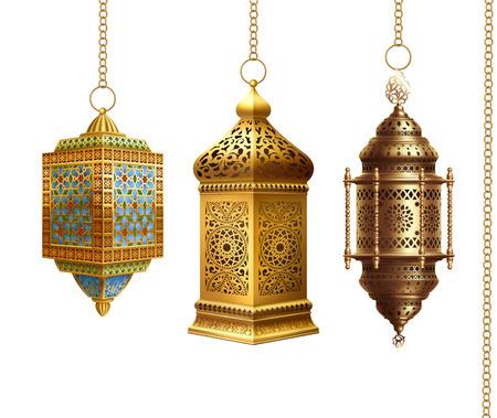 Set of traditional arabian lanterns on white background.
