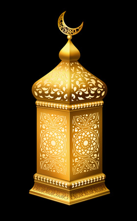Illustration of traditional arabian lantern with lighting on black background.