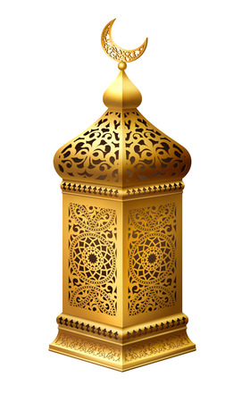 Illustration of traditional arabian lantern on white background.