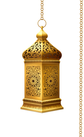 Illustration of traditional arabian lantern on white background. Zdjęcie Seryjne - 122108251