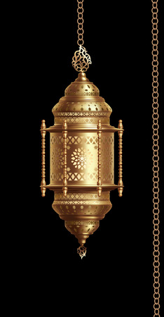 Illustration of traditional arabian lantern with lighting on black background