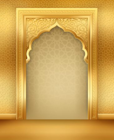 Ramadan background with golden arch, with golden arabic pattern